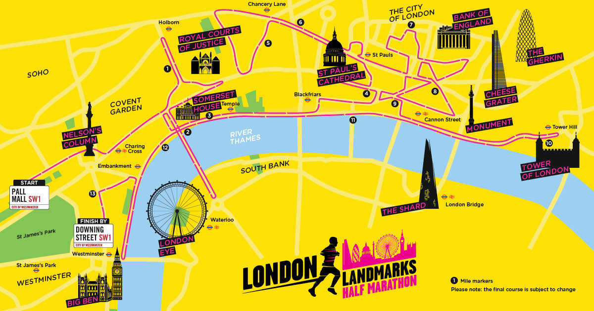 London Landmarks Map.The Great Llhm Running Route Llhm
