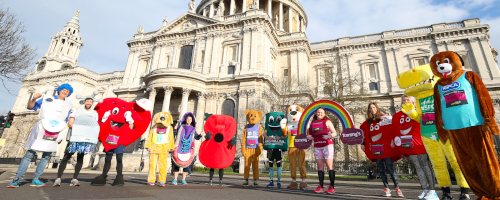 Mascots at the London Landmarks Half Marathon 2019