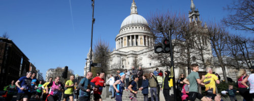 Runners passing St. Pauls Cathedral at the London Landmarks Half Marathon
