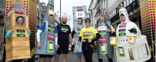 Landmark costume runners and Amanda Holden at the London Landmarks Half Marathon start line.