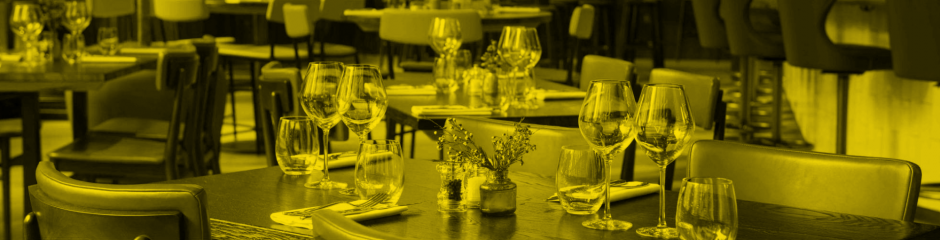 Photo of restaurant with a yellow filter
