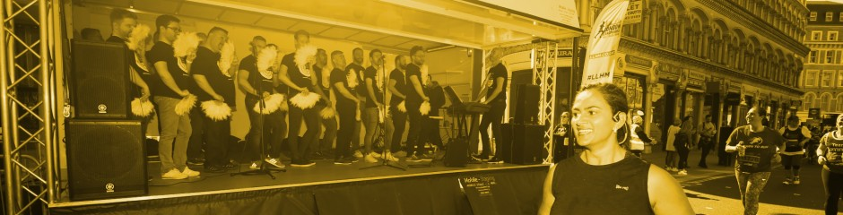 The London Gay Mens' Chorus performing at the London Landmarks Half Marathon
